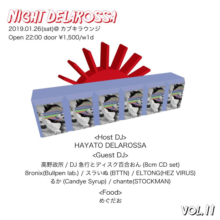 """Night Delarossa vol.11""  2019.1.26(sat)@カブキラウンジ"